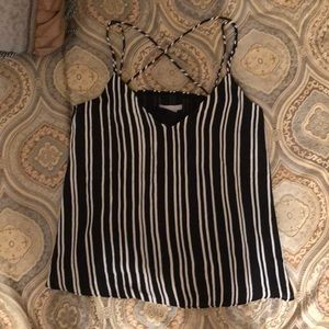 Black and with stripes top